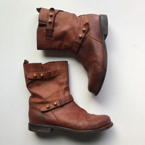Madewell Biker Boot Two Buckle Pull On Leather